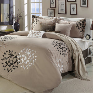 Queen size 8-Piece Comforter Set in Light Brown Black Tan White