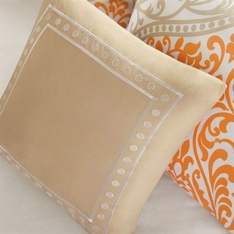 Queen size 5-Piece Orange Damask Print Comforter Set