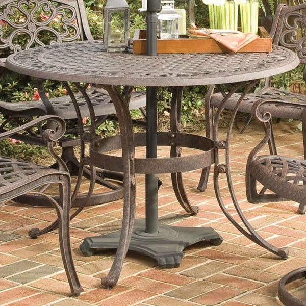 48-inch Round Outdoor Patio Table in Rust Brown Metal with Umbrella Hole