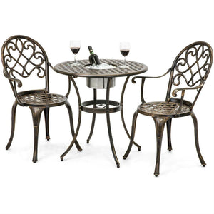 Outdoor 3-Piece Patio Furniture Bistro Set in Antique Copper Finish