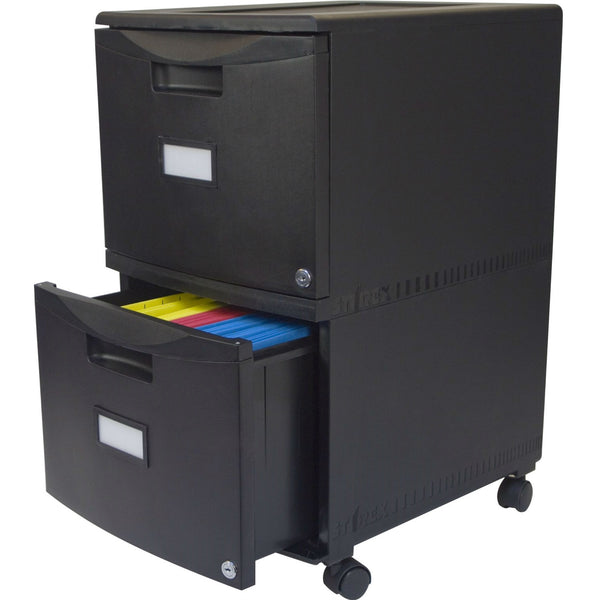 Black 2-Drawer Locking Letter/Legal size File Cabinet with Casters/Wheels