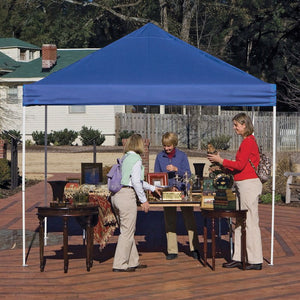 Blue 10-Ft x 10-Ft Pop Up Canopy with Steel Frame and Spike Anchors