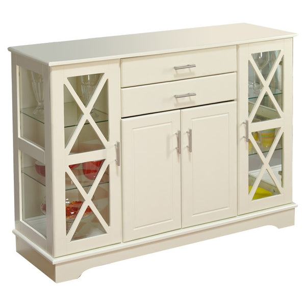 White Wood Buffet Sideboard Cabinet with Glass Display Doors
