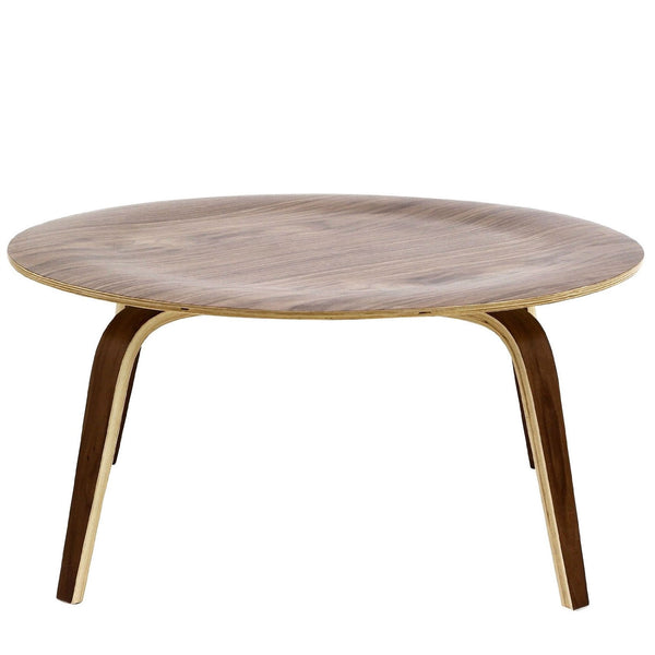 Modern Molded Plywood Mid-Century Style Coffee Table in Walnut Wood Finish