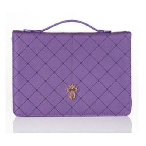 Purple Leather Bag With Cross