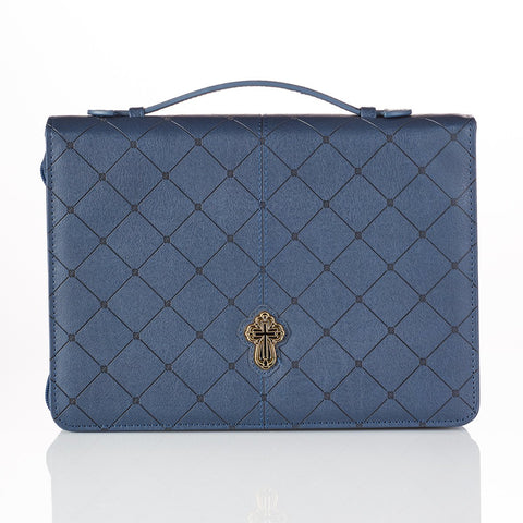 Navy Leather Bag With Cross