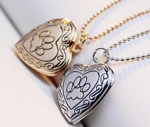 Paw & Heart-Shaped Locket Necklace