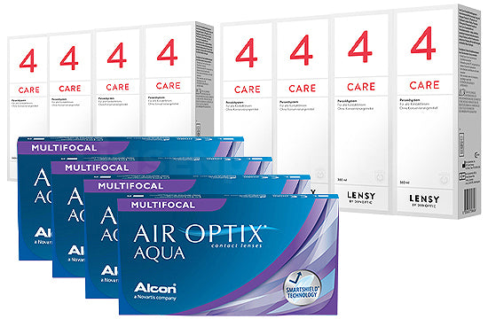 Air Optix Aqua Multifocal & Lensy Care 4, Jahres-Sparpaket