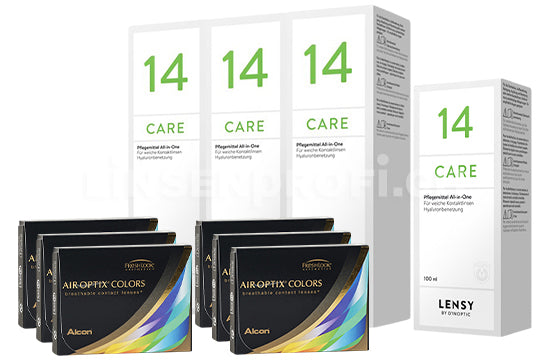 Air Optix Colors & Lensy Care 14, Halbjahres-Sparpaket