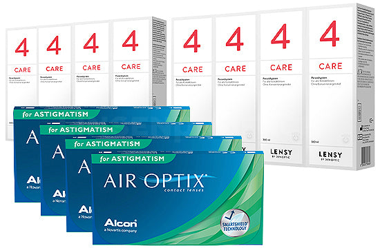 Air Optix for Astigmatism & Lensy Care 4, Jahres-Sparpaket