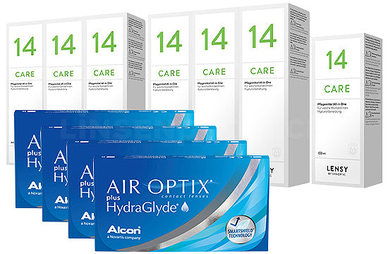 Air Optix plus HydraGlyde & Lensy Care 14, Jahres-Sparpaket