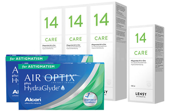 Air Optix plus HydraGlyde for Astigmatism & Lensy Care 14, Halbjahres-Sparpaket