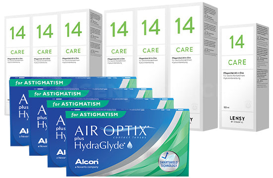 Air Optix plus HydraGlyde for Astigmatism & Lensy Care 14, Jahres-Sparpaket