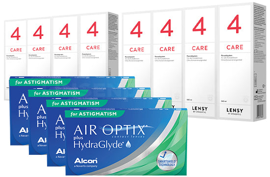 Air Optix plus HydraGlyde for Astigmatism & Lensy Care 4, Jahres-Sparpaket