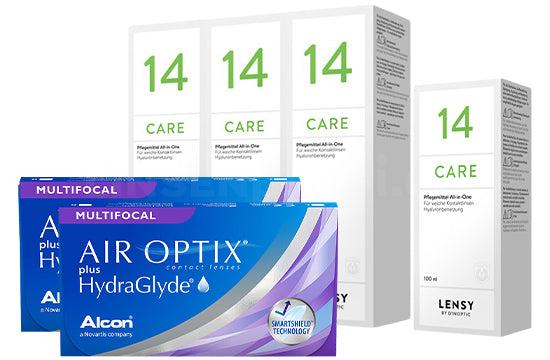 Air Optix plus HydraGlyde Multifocal & Lensy Care 14, Halbjahres-Sparpaket