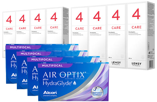 Air Optix plus HydraGlyde Multifocal & Lensy Care 4, Jahres-Sparpaket