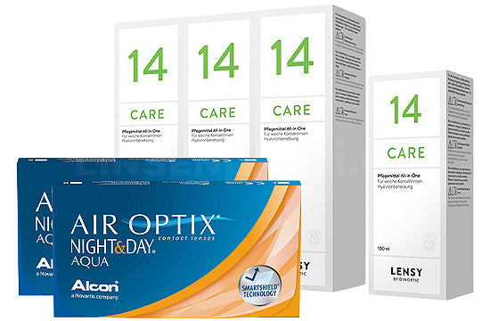 Air Optix Night&Day Aqua & Lensy Care 14, Halbjahres-Sparpaket