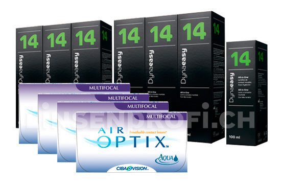 Air Optix Aqua Multifocal & Lensy Care 14, Jahres-Sparpaket