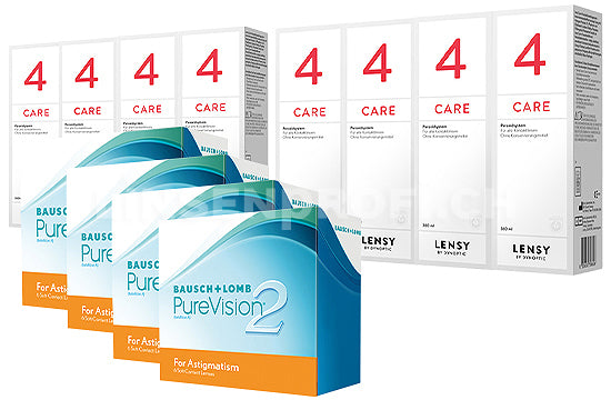 PureVision 2 HD for Astigmatism & Lensy Care 4, Jahres-Sparpaket