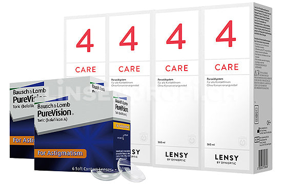 PureVision Toric & Lensy Care 4, Halbjahres-Sparpaket