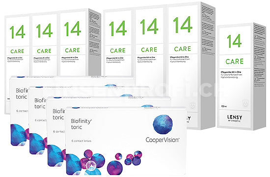 Biofinity Toric & Lensy Care 14, Jahres-Sparpaket
