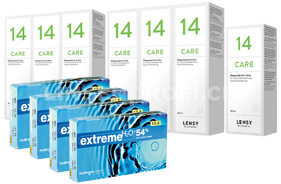 Extreme H2O 54% & Lensy Care 14, Jahres-Sparpaket