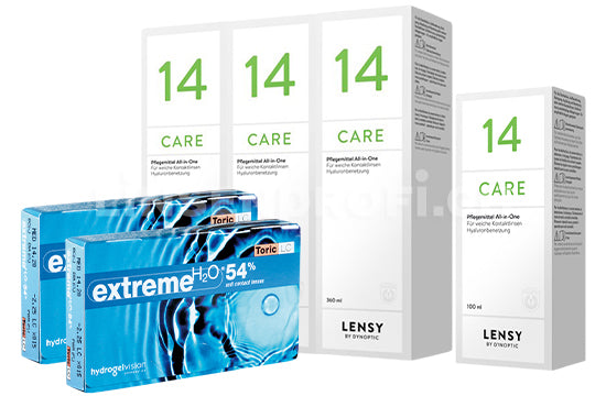 Extreme H2O 54 Toric LC & Lensy Care 14, Halbjahres-Sparpaket