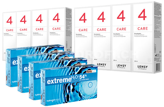 Extreme H2O 54 Toric LC & Lensy Care 4, Jahres-Sparpaket