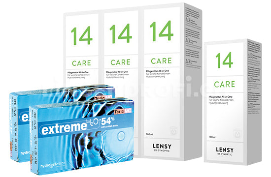 Extreme H2O 54 Toric MC & Lensy Care 14, Halbjahres-Sparpaket
