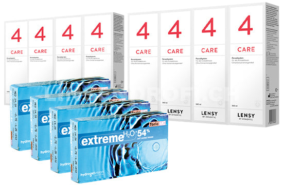 Extreme H2O 54 Toric MC & Lensy Care 4, Jahres-Sparpaket