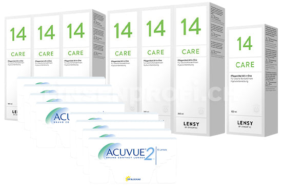 Acuvue 2 & Lensy Care 14, Jahres-Sparpaket