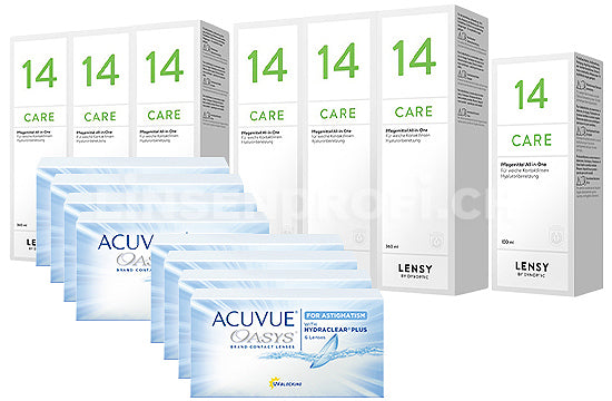 Acuvue Oasys for Astigmatism & Lensy Care 14, Jahres-Sparpaket