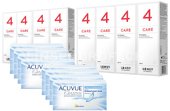 Acuvue Oasys for Astigmatism & Lensy Care 4, Jahres-Sparpaket