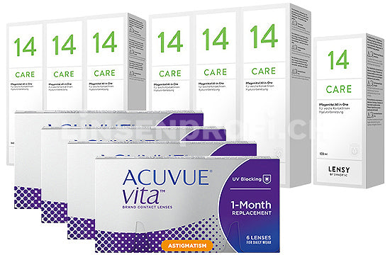 Acuvue Vita for Astigmatism & Lensy Care 14, Jahres-Sparpaket