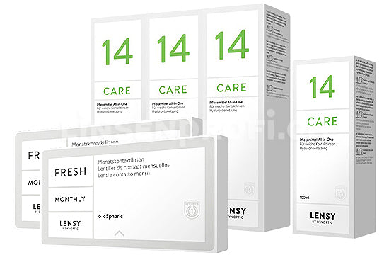 Lensy Monthly Fresh Spheric & Lensy Care 14, Halbjahres-Sparpaket