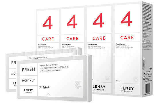 Lensy Monthly Fresh Spheric & Lensy Care 4, Halbjahres-Sparpaket