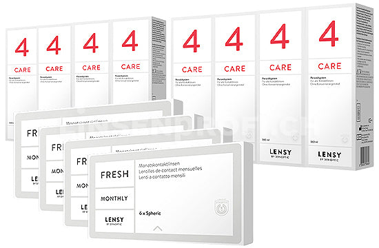 Lensy Monthly Fresh Spheric & Lensy Care 4, Jahres-Sparpaket