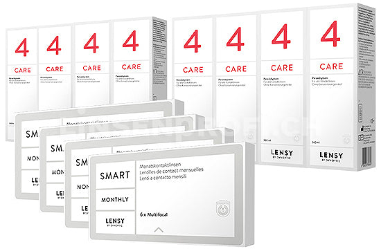 Lensy Monthly Smart Multifocal & Lensy Care 4, Jahres-Sparpaket