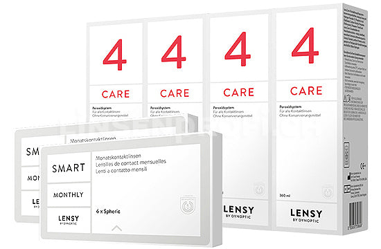 Lensy Monthly Smart Spheric & Lensy Care 4, Halbjahres-Sparpaket