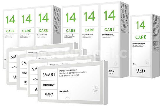Lensy Monthly Smart Spheric & Lensy Care 14, Jahres-Sparpaket