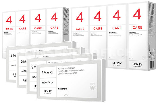 Lensy Monthly Smart Spheric & Lensy Care 4, Jahres-Sparpaket