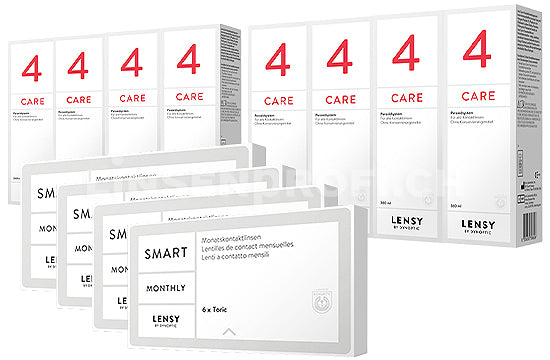 Lensy Monthly Smart Toric & Lensy Care 4, Jahres-Sparpaket