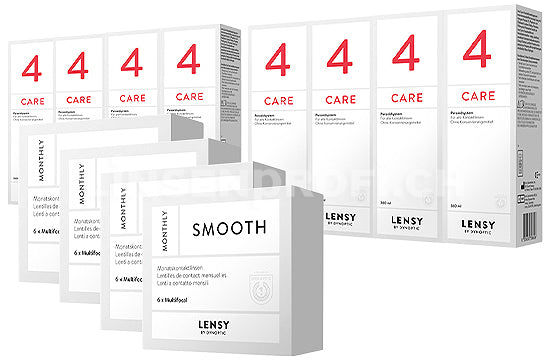 Lensy Monthly Smooth Multifocal & Lensy Care 4, Jahres-Sparpaket