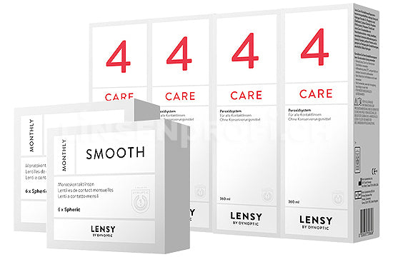 Lensy Monthly Smooth Spheric & Lensy Care 4, Halbjahres-Sparpaket