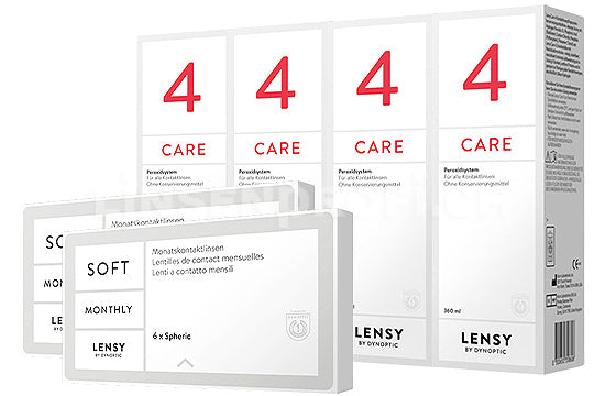 Lensy Monthly Soft Spheric & Lensy Care 4, Halbjahres-Sparpaket