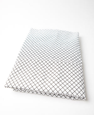 Mini Grid Fitted Crib Sheet Black and White Cotton Percale - Modern Crib Bedding