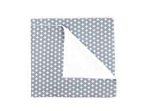 Grey Cross Crib Blanket - Grey and White - Olli+Lime