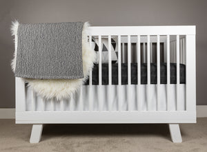 Hearts Crib Bedding Set White on Black - Modern Crib Bedding
