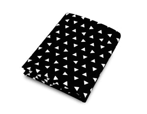 Triangle Fitted Crib Sheet Black and White Cotton Percale - Olli+Lime