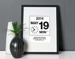 Custom  Birthdate Wall Art - Black and White - Olli+Lime
